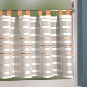 Perdea de bucatarie Linea portocaliu-alb 50×140