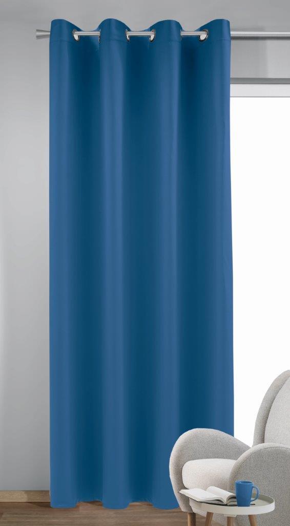 Draperie cu inele Bl.out Mia albastru 245×140