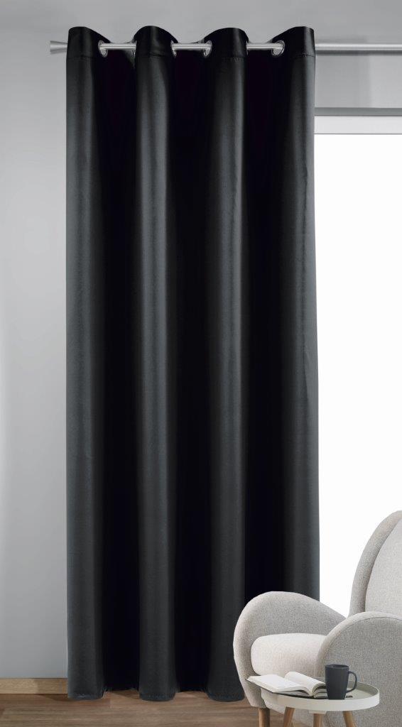 Draperie cu inele Bl.out Mia negru 245×140