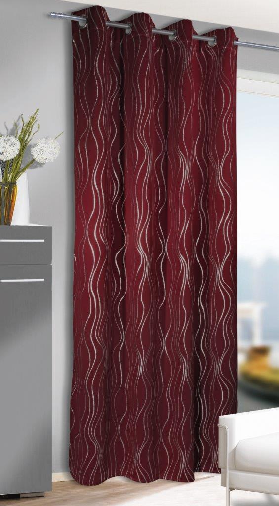 Draperie cu inele Vegas rosu-argintiu 245×135