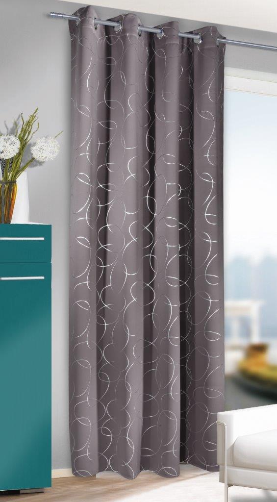 Draperie cu inele Serge maro-argintiu 245×135