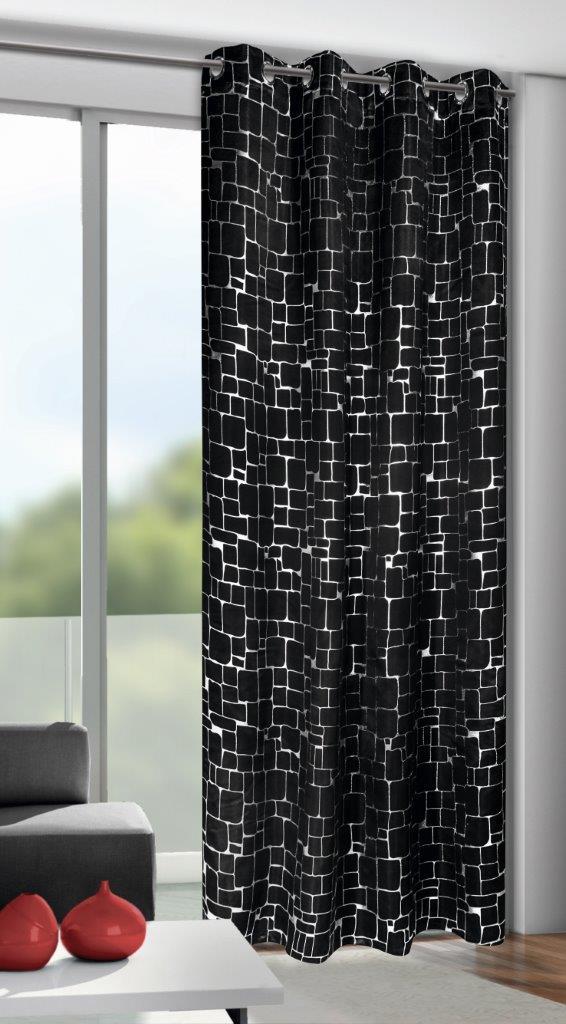 Draperie cu inele D-Out Mauer negru 245×135