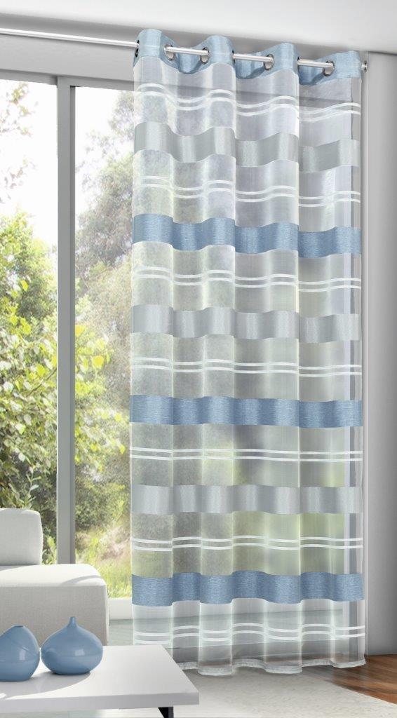 Draperie cu inele Ludwig albastru 245×135