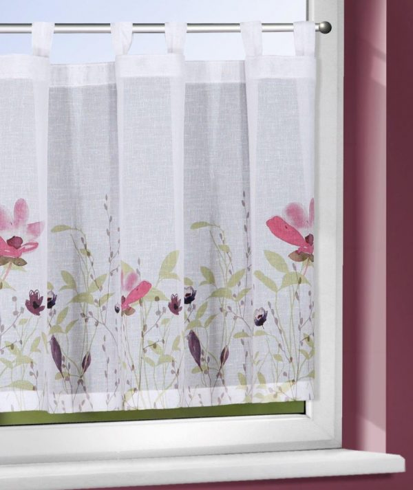 Perdea de bucatarie Evi dd-alb-pink 45×140
