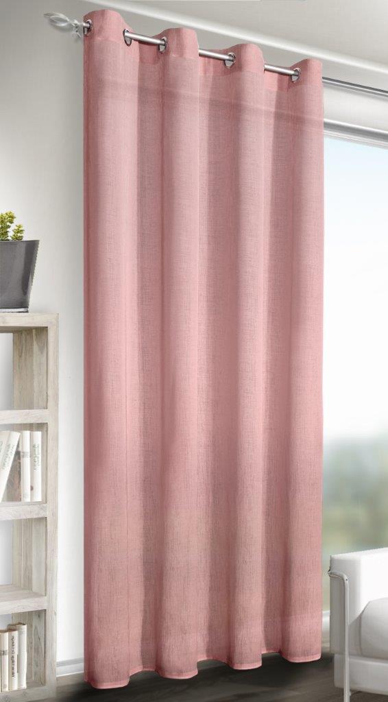 Draperie cu inele Struktur Alex roz 245×140