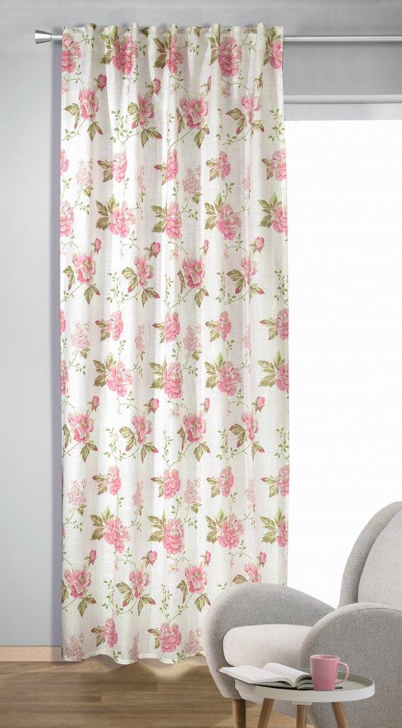 Perdea cu bride Fleur pink 245×135