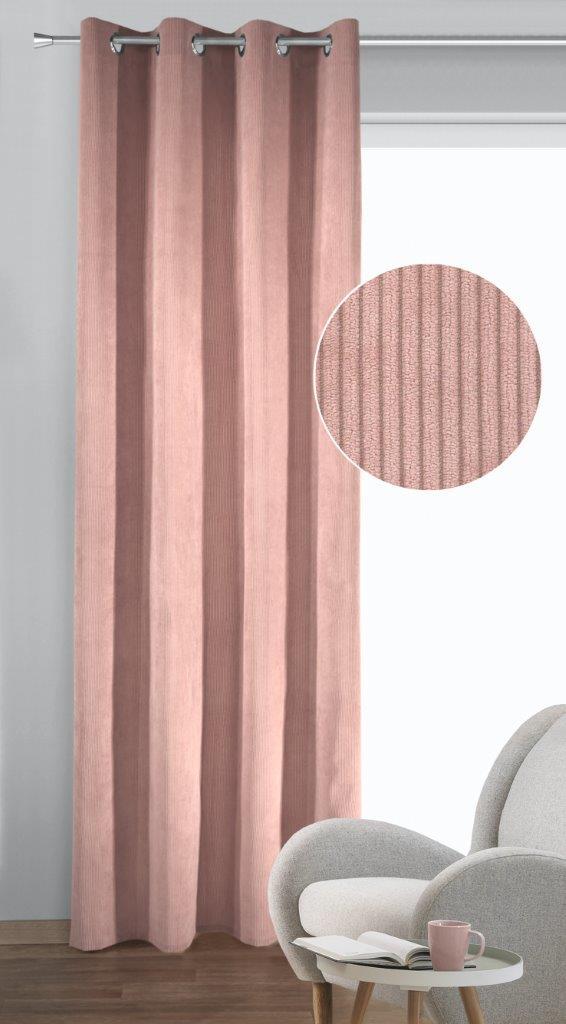 Draperie cu inele Brit roz 245×135